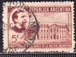 ARGENTINA 1941 CARLOS PELLEGRINI BANCO DE LA NACION NATIONAL BANK CENT. 5c USATO USED OBLITERE' - Argentina