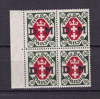 Danzig - Diensmarken - 1921 - Michel Nr. 8 Viererblock Rand - Postfrisch - Danzig