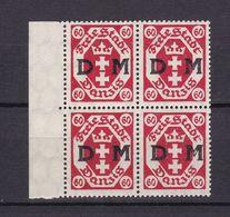 Danzig - Diensmarken - 1921 - Michel Nr. 9 Viererblock Rand - Postfrisch - Danzig