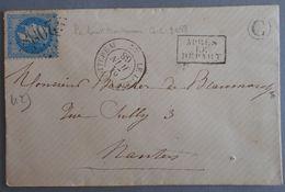 EMPIRE LAURE 29 SUR LETTRE DE LE LOROUX BOTTEREAU A NANTES DU 21 JUIN 1868 (GROS CHIFFRE 2088) - 1849-1876: Période Classique