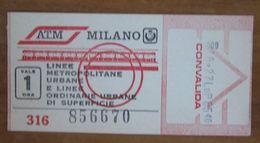 ITALIA Ticket  Bus Metro ATM Milano Biglietto Valido Per 1 Ora - Europe