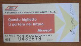 ITALIA Ticket  Bus Metro ATM Milano Biglietto Pubblicità Microsoft Con Filigrana - Europe