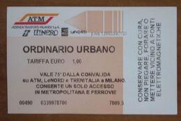 ITALIA Ticket  Bus Metro ATM Milano Biglietto Ordinario - Europe