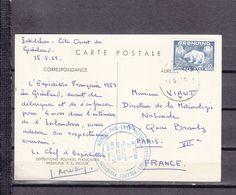 1951 EXPEDITION ARCTIQUE/ANTARCTIQUE CARTE DE PAUL EMILE VICTOR SIGNE ROUILLON RARE - Terres Australes Et Antarctiques Françaises (TAAF)
