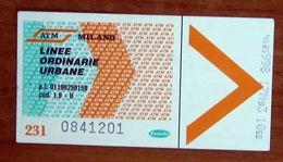 ITALIA Ticket  Bus Metro ATM Milano Biglietto  Con Filigrana - Wochen- U. Monatsausweise