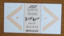 ITALIA Ticket  Bus Metro ATM Milano 2 Viaggi Mercoledì/Giovedì Biglietto Con Filigrana - Europe