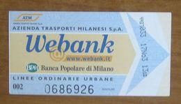 ITALIA Ticket  Bus Metro ATM Milano Banca Webank / Banca Popolare Milano Biglietto Con Filigrana - Europe