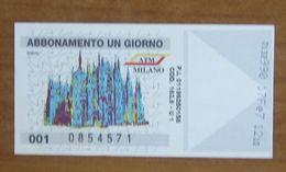 ITALIA Ticket  Bus Metro ATM Milano Duomo  Biglietto Abbonamento 1 Giorno Con Filigrana - Wochen- U. Monatsausweise
