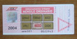 ITALIA Ticket  Bus Metro ATM Milano Abbonamento Mensile 2004 - Europa