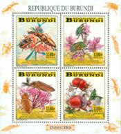 BURUNDI 2014 -  Insectes Et Fleurs - Feuillet De 4 - Burundi