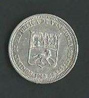 Lotto N. 3 Monete Venezuela 25 Centesimos 1960, 1 Bolivar 1935 E 1965 Argento (50, 11, 7) - Venezuela
