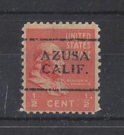 """U.S.A....."""" 1938..""""......AZUSA CALIF..........PRE- CANCEL...... - United States"""