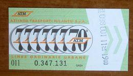 ITALIA Ticket  Bus Metro 70 Anni ATM Milano   Biglietto  Con Filigrana - Europe