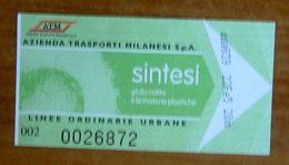 ITALIA Ticket  Bus Metro  ATM Milano  Sintesi Mostra Museo Biglietto  Con Filigrana - Europe