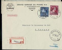Doc. De KNOKKE - A A - Du 22/11/51( Entête: Shell Lubrication (pétrole)   En Rec. - Poststempels/ Marcofilie