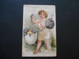 Angelot Tenant Un Oeuf Plein De Violettes Et Un Poussin, Bouquet De Violettes, Lettres - Gaufrée - Anges