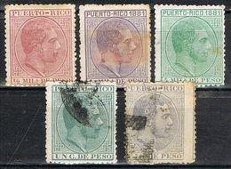 Lote Sellos PUERTO RICO 1881, Colonia Española, Num 42-43-45-48 Y 51 º/* - Puerto Rico