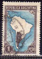 ARGENTINA 1935 1951 1937 MAP  CARTINA GEOGRAFICA PESO 1p USATO USED OBLITERE' - Argentina