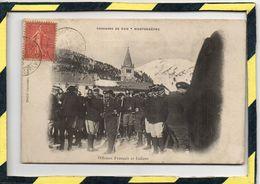 DPT 05. - . MONTGENEVRE - CONCOURS DE SKIS.  OFFICIERS FRANCAIS ET ITALIENS - ANIMATION. CARTE RARE. - Briancon
