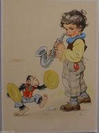 """""""Kinder, Affe, Saxophone, Musizieren"""" Ca. 1945, Sig. Lungers Hausen ♥  - Kinder"""