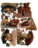 Ensemble De Chromos Découpis, Chats Et Chiens, Env. 23, 5 X 20 Cm, N° 1888 - Animals
