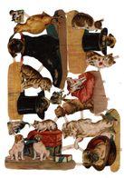 Ensemble De Chromos Découpis, Chats Et Chiens, Env. 23,5 X 17 Cm, N° 1888 - Animals
