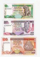 Sri Lanka  10 Rupees 2005, 20 Rupees 2006 100 Rupees 2005 UNC - Sri Lanka