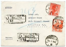 ROMANIA : 1939 - REGISTERED LETTER : BUCAREST, LEGATION DES PAYS-BAS / ADDRESS - LONDON, CHISWELL STREET, LOTAR - Postwaardestukken