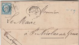 Yvert 60C Lettre Entête MAIRIE De MONTAUBAN Tarn Et Garonne 17/7/1875 à Maire St Nicolas De La Grave Texte Inondations - Marcophilie (Lettres)