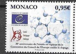 MONACO, 2020, MNH,COUNCIL OF EUROPE, DOPING, SPORTS, COUNCIL OF EUROPE ANTI-DOPING CONVENTION,1v - Stamps
