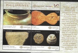 PHILIPPINES, 2019, MNH,INTERNATIONAL YEAR OF INDIGENOUS LANGUAGES, ARCHAEOLOGICAL FINDINGS, SHEETLET - Languages