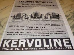 ANCIENNE PUBLICITE HUILE QUI S IMPOSE KERVOLINE   1928 - Other