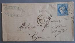 EMPIRE LAURE 29 SUR LETTRE DE RENNES A LYON DU 31 OCTOBRE 1874 (PETIT CHIFFRE DU GROS CHIFFRE 3112) - 1849-1876: Classic Period