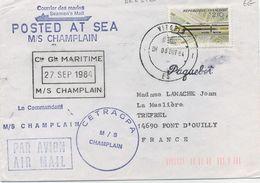 """CACHETS DE PAQUEBOTS  - C G M:   M /S  """" CHAMPLAIN """" - Maritime Post"""