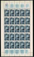 ANDORRE 1957 ENCAMP 1F Feuille Entière Défaut Essuyage Bleu Guilochis + TOUS LES TIMBRES BLEUTÉS + Variétés ** LUXE - Nuovi