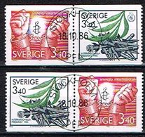 SUEDE / Obliteres / Used / 1986 - Pour La Paix Et La Liberté - Suède