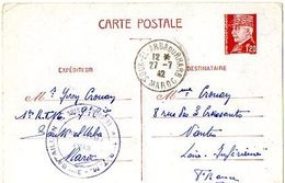 C2    1942 Entier Petain  1er R.T.M. A SOUK EL ARBA OURHAB - Marcophilie (Lettres)
