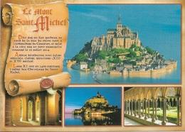 50 - LE MONT SAINT-MICHEL - PARCHEMIN - HISTORIQUE DE LA COMMUNE - 4 PETITES VUES - CPM - VIERGE - - Le Mont Saint Michel