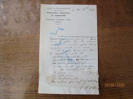 BERLAIMONT PENSIONNAT MUNICIPAL DE GARCONS LE 10 8bre 1913 COURRIER LE DIRECTEUR - Documents Historiques