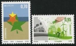 "LUXEMBURGO/ LUXEMBOURG -  EUROPA 2016 -TEMA ""ECOLOGIA -EL PENSAMIENTO VERDE -THINK GREEN""- SERIE 2 V. - 2016"