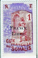 Cote Des Somalis 1942 Surcharge France Libre 1c  YT 193 - Französich-Somaliküste (1894-1967)
