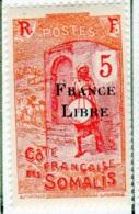Cote Des Somalis 1942 Surcharge France Libre 5c  YT 196 - Französich-Somaliküste (1894-1967)