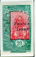 Cote Des Somalis 1942 Surcharge France Libre 20c  YT 198 - Französich-Somaliküste (1894-1967)