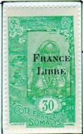 Cote Des Somalis 1942 Surcharge France Libre 30c  YT 199 - Französich-Somaliküste (1894-1967)