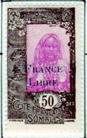 Cote Des Somalis 1942 Surcharge France Libre 50c  YT 200 - Französich-Somaliküste (1894-1967)