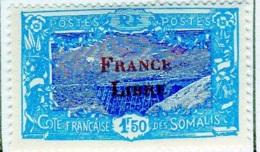Cote Des Somalis 1942 Surcharge France Libre  1f50  YT 202 - Französich-Somaliküste (1894-1967)
