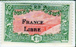 Cote Des Somalis 1942 Surcharge France Libre  1f75  YT 203 - Französich-Somaliküste (1894-1967)