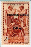 Cote Des Somalis 1942  Guerriers Surcharge France Libre    YT 233 - Französich-Somaliküste (1894-1967)