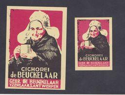 Anciennes étiquettes Allumettes Belgique Chicorée Femme - Luciferdozen - Etiketten