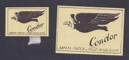 Anciennes étiquettes Allumettes Belgique Oiseau Condor - Boites D'allumettes - Etiquettes